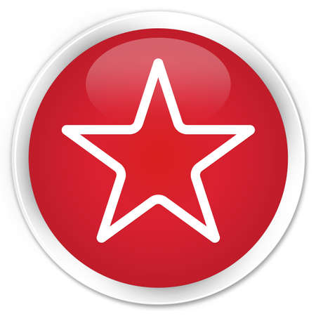 icon red: Star icon red glossy round button Stock Photo