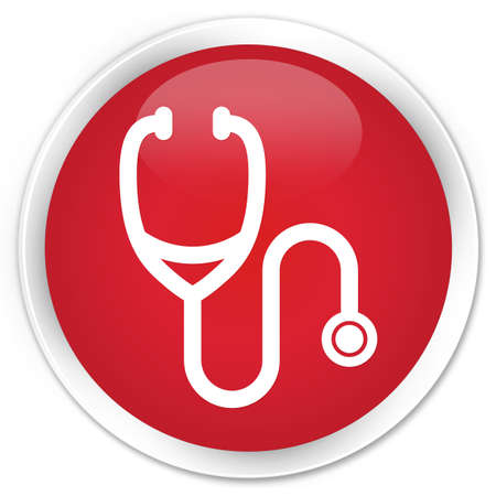 Stethoscope icon red glossy round button Stock Photo