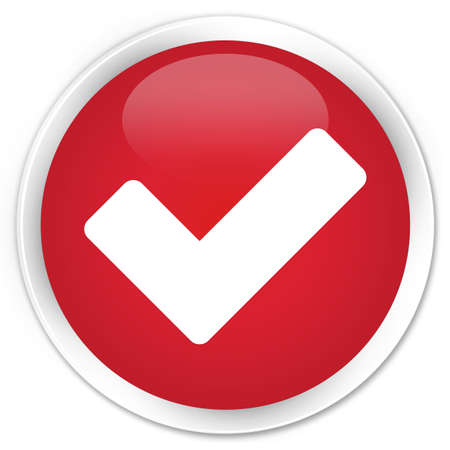validate: Validate icon red glossy round button