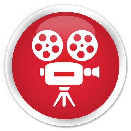 video camera icon: Video camera icon red glossy round button