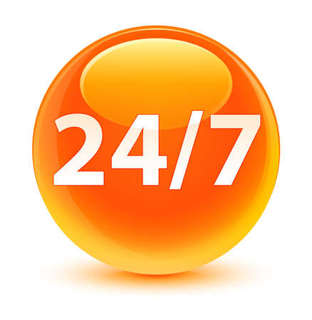 twenty four hours: 247 icon glassy orange button Stock Photo