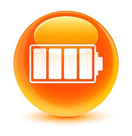 Battery icon glassy orange button 版權商用圖片