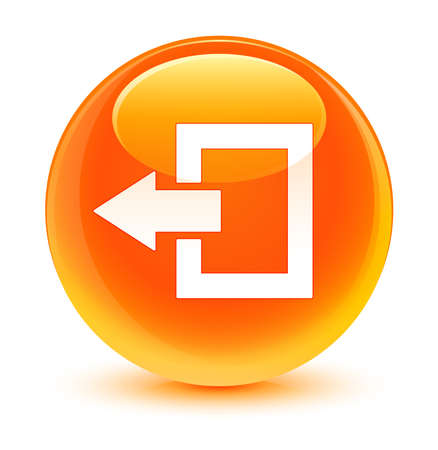shut off: Logout icon glassy orange button Stock Photo