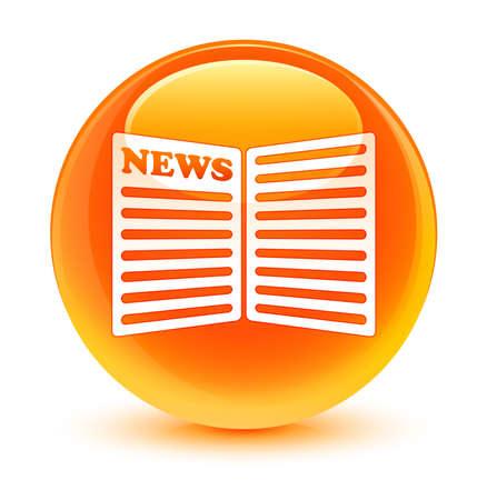 newspaper icon: Newspaper icon glassy orange button Stock Photo