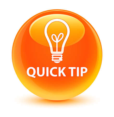 lighting button: Quick tip (bulb icon) glassy orange button Stock Photo