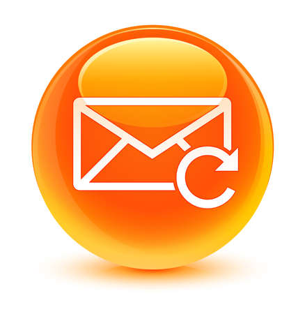 flysheet: Refresh email icon glassy orange button Stock Photo