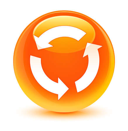 refresh button: Refresh icon glassy orange button
