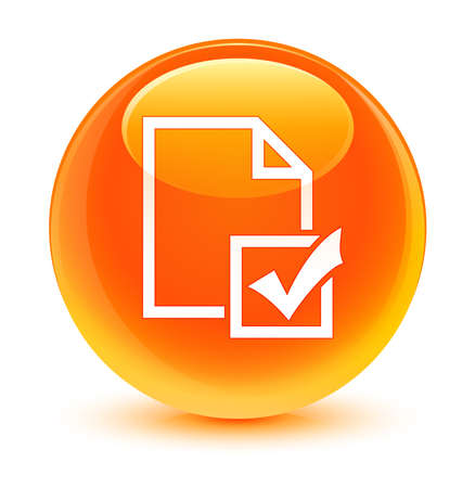 positive note: Survey icon glassy orange button