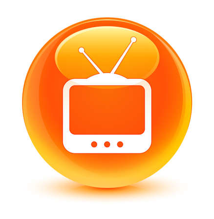 live entertainment: TV icon glassy orange button Stock Photo