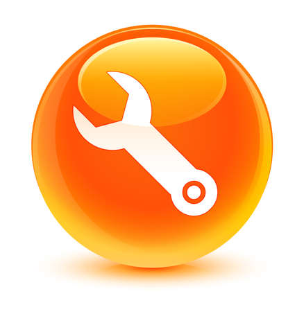 preference: Wrench icon glassy orange button