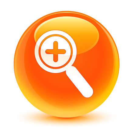 zoom in: Zoom in icon glassy orange button
