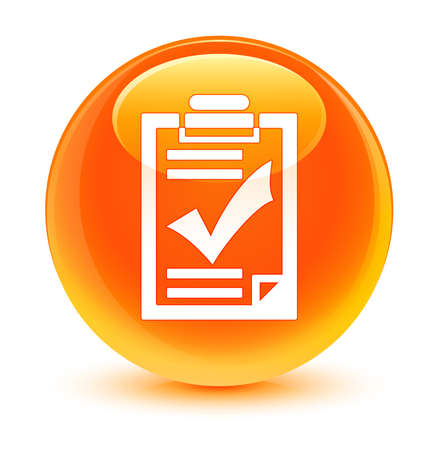 Checklist icon glassy orange button photo