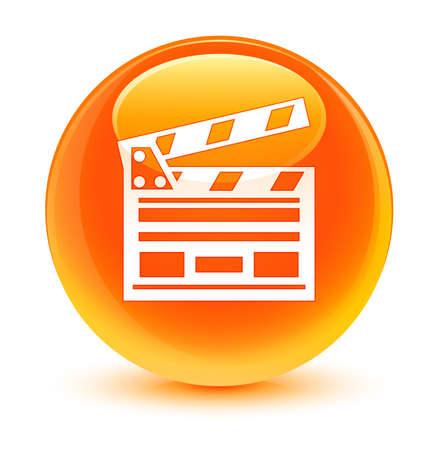 Cinema clip icon glassy orange button
