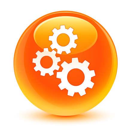 preference: Gears icon glassy orange button