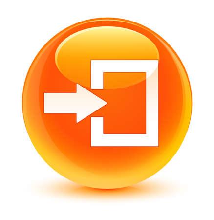 login icon: Login icon glassy orange button Stock Photo