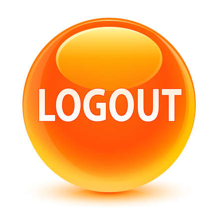 log off: Logout glassy orange button Stock Photo