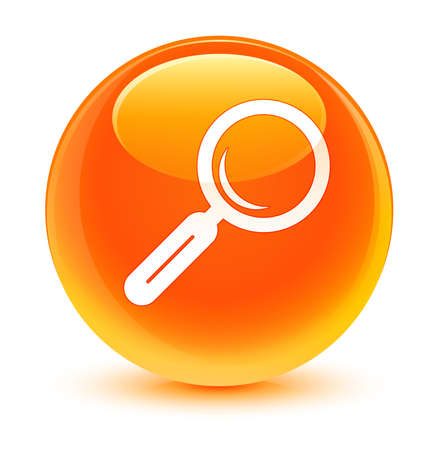 Magnifying glass icon glassy orange button photo