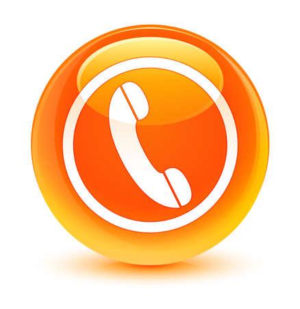 mobile operators: Phone icon glassy orange button Stock Photo