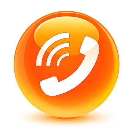 Telefoon bel pictogram glazen oranje knop Stockfoto