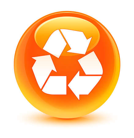echo: Recycle icon glassy orange button Stock Photo