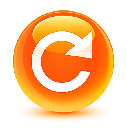 rotate icon: Reply rotate icon glassy orange button Stock Photo