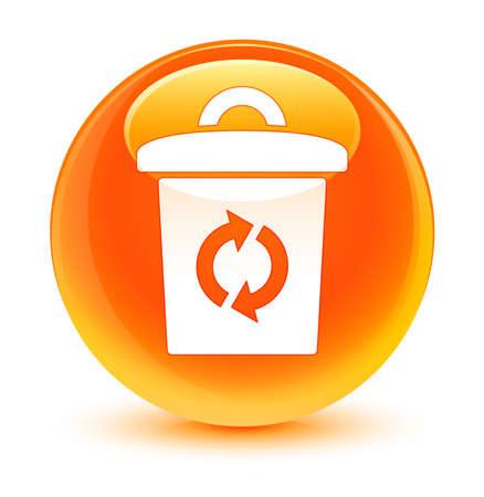 Trash icon glassy orange button photo
