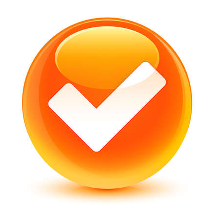 validate: Validate icon glassy orange button Stock Photo