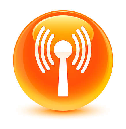 wlan: Wlan network icon glassy orange button