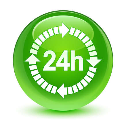 24 hours delivery icon glassy green button photo