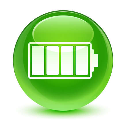 green button: Battery icon glassy green button Stock Photo