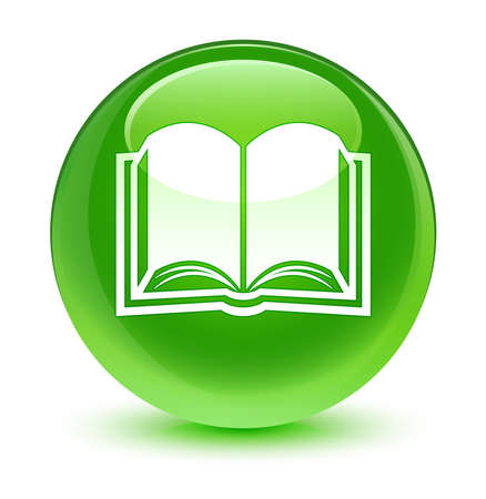 green button: Book icon glassy green button Stock Photo