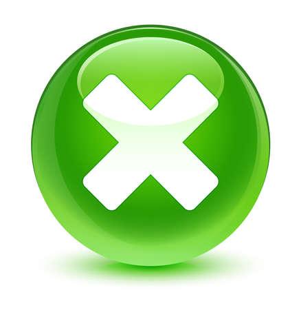 Cancel icon glassy green button