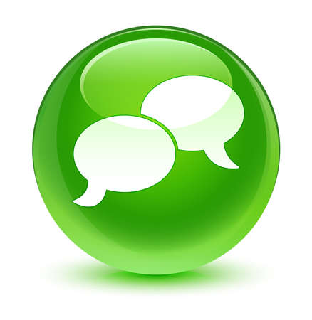 green button: Chat bubble icon glassy green button