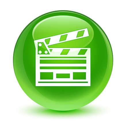 directors cut: Cinema clip icon glassy green button