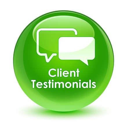 authenticate: Client testimonials glassy green button