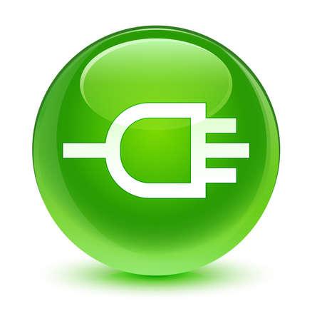 Connect icon glassy green button photo