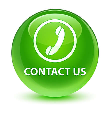 contact us phone: Contact us (phone icon) glassy green button
