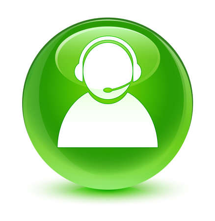 green button: Customer care icon glassy green button