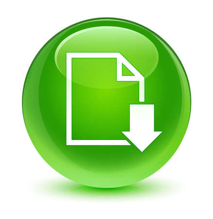 green button: Download document icon glassy green button