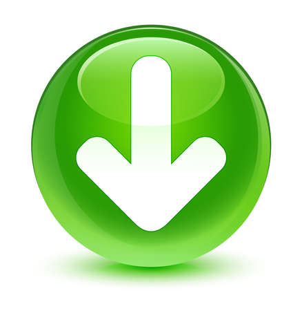 green button: Download icon glassy green button