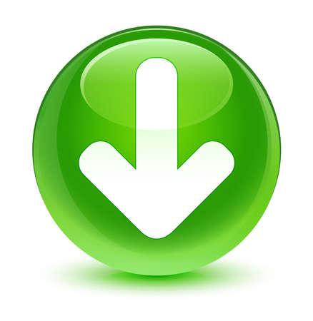 green button: Download icon glassy green button