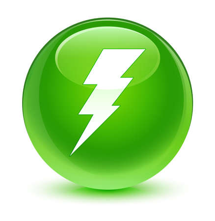 lightning speed: Electricity icon glassy green button