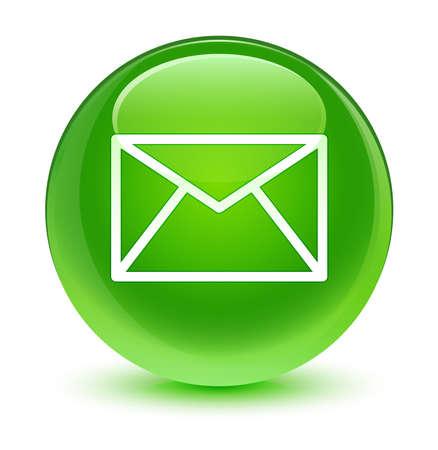 이메일 아이콘 유리 녹색 버튼