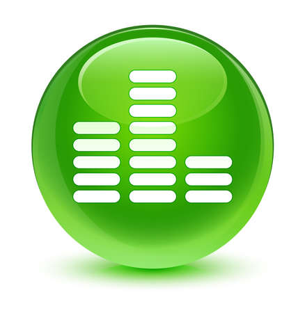green button: Equalizer icon glassy green button Stock Photo