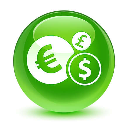 green button: Finances icon glassy green button Stock Photo