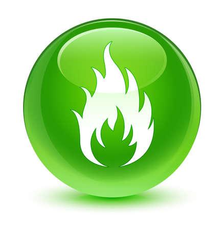 green button: Fire icon glassy green button Stock Photo