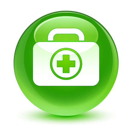 First aid kit bag icon glassy green button photo