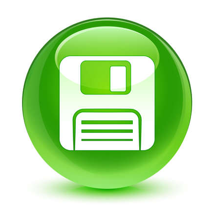 floppy disk: Floppy disk icon glassy green button