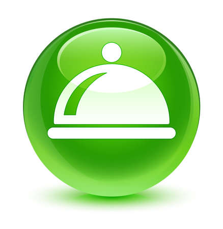 cater: Food dish icon glassy green button