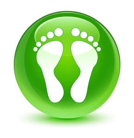 green button: Footprint icon glassy green button